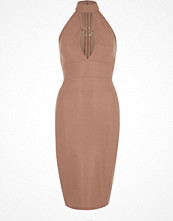 River Island Light pink ring fitted high neck midi dress