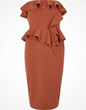 River Island Rust orange frill strapless bodycon dress
