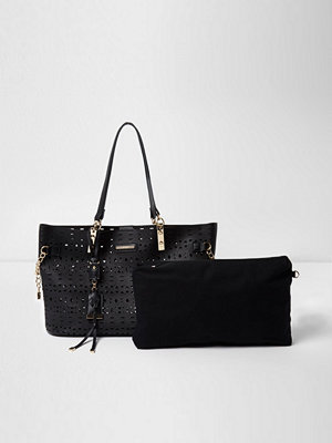 Handväskor - River Island Black laser cut chain beach tote bag