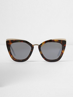 River Island Brown oversized mirror lens sunglasses