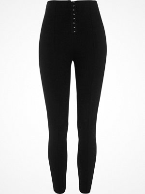 Leggings & tights - River Island Black high waisted hook and eye leggings