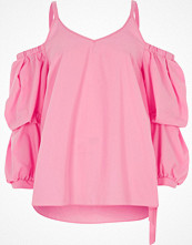 River Island Pink puff sleeve cold shoulder top