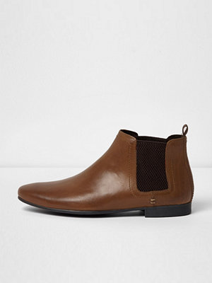 Boots & kängor - River Island Brown leather chelsea boots