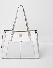 Handväskor - River Island White pocket snake handle tote bag