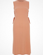 River Island Light pink lace-up side fitted dress