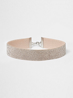 River Island Silver tone heatseal diamante choker