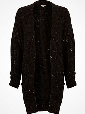 Cardigans - River Island Black knit sequin oversized cardigan