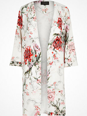 River Island White floral print duster coat