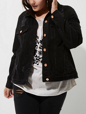 River Island Plus black washed distressed denim jacket