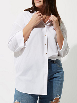 River Island River Island Womens Plus White tie back oversized shirt