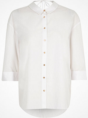 River Island Petite white tie back shirt