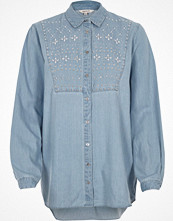Skjortor - River Island Blue denim embellished shirt