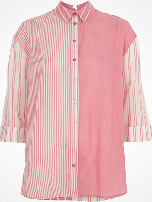 Skjortor - River Island Pink mixed stripe print tie back shirt