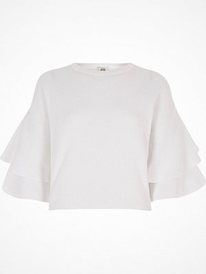 River Island White frill sleeve jumper