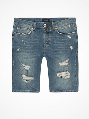 River Island Mid Blue ripped skinny denim shorts