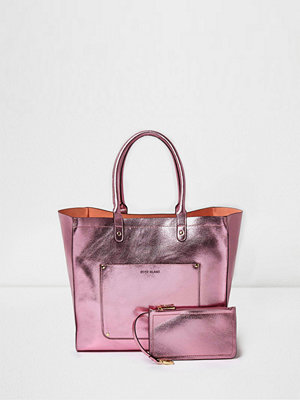 Handväskor - River Island Pink metallic winged tote beach bag