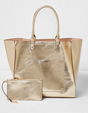 Handväskor - River Island Gold metallic winged tote beach bag