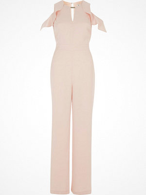 Jumpsuits & playsuits - River Island Pink frill sleeve cold shoulder jumpsuit