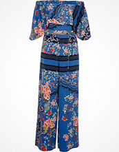 Jumpsuits & playsuits - River Island Blue floral baroque print bardot jumpsuit