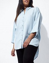 Skjortor - River Island Plus blue know back denim shirt