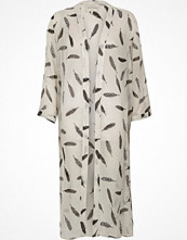 River Island Cream feather print duster coat