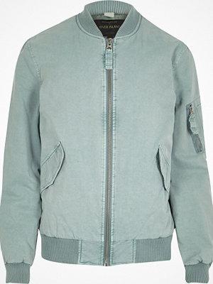 Jackor - River Island Light blue washed bomber jacket