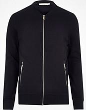 Jackor - River Island Navy Jack & Jones Premium sweat bomber jacket