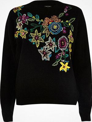 River Island Black knit floral embroidered jumper