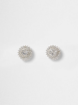 River Island örhängen Silver tone diamante starburst stud earrings