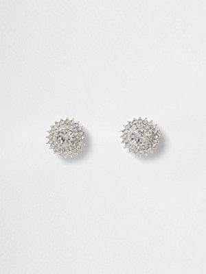River Island örhängen Silver tone diamante starburst stud earrings