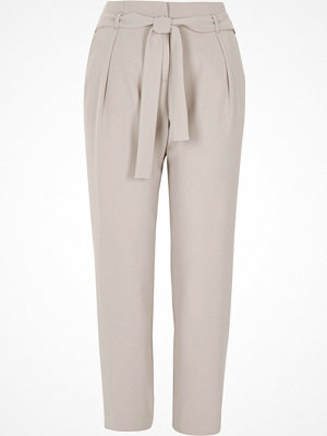 River Island Light grey tie waist tapered trousers