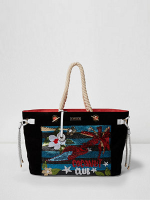Handväskor - River Island Black 'coconut club' sequin beach bag