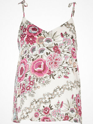 Linnen - River Island Pink floral bow shoulder cami top