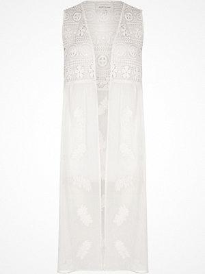 River Island White lace embroidered sleeveless kimono