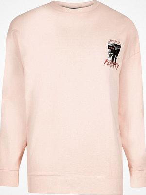 Tröjor & cardigans - River Island Peach orange 'reality' print sweatshirt