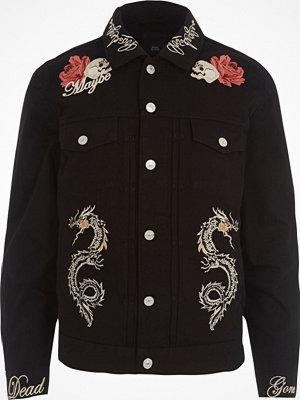 Jackor - River Island Black skull embroidered denim jacket