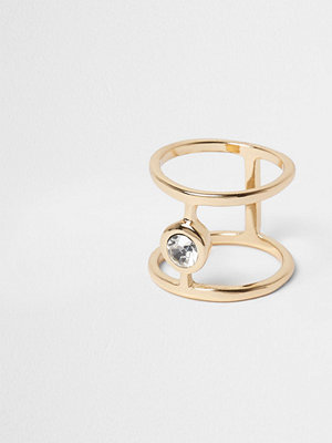 River Island Gold tone diamante ring