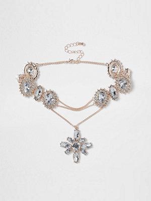 Smycken - River Island Rose gold tone jewel drop corset choker