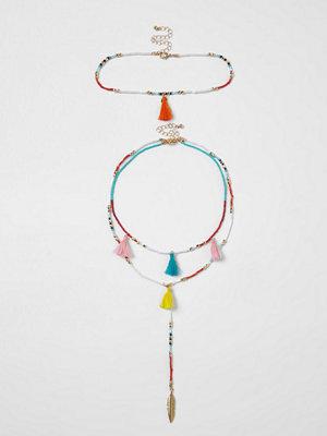 Smycken - River Island White multi coloured fluro beaded choker set
