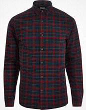 Skjortor - River Island Red Only & Sons check long sleeve shirt