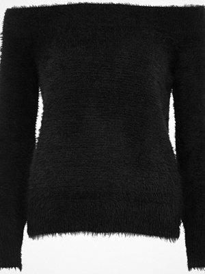 River Island Black fluffy bardot jumper