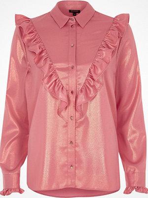 River Island Pink metallic frill bib shirt