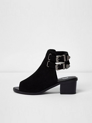 Boots & kängor - River Island Black suede western style peep toe shoe boot