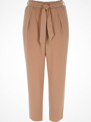 River Island Petite nude tie waist tapered trousers