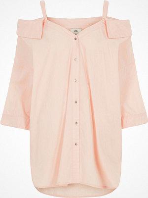Toppar - River Island Pink cold shoulder shirt