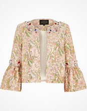 River Island Pink brocade gem embellished trophy jacket