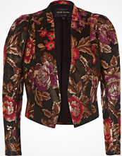 River Island Black jacquard puff sleeve jacket
