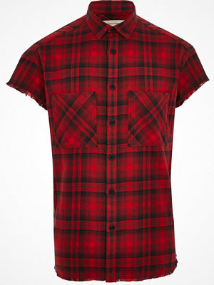 Skjortor - River Island Red check short sleeve casual shirt