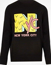 Tröjor & cardigans - River Island Black 'NYC' print sweatshirt