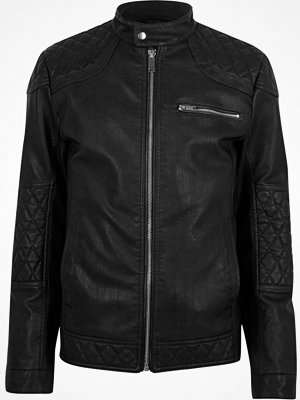 Jackor - River Island Black faux leather racer jacket